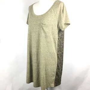 Roxy Dress XL Tan Brown Print Shift Short Sleeve